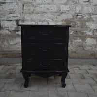 Lunenburg Vintage 3 Drawer Nightstand - BLACK