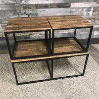 Nesting wood and metal living room coffee tables