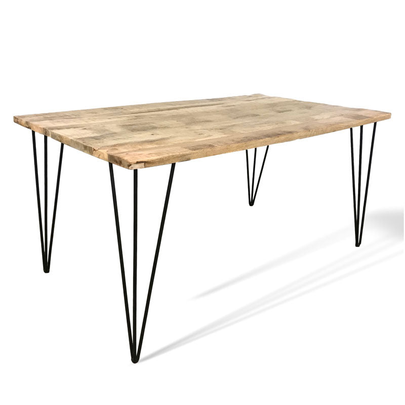 63 inch mango wood dining table with hair pin legs
