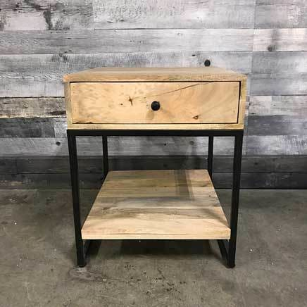 Merapi industrial mango wood end table