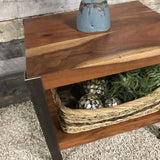 Monroe Industrial acacia end table with wires
