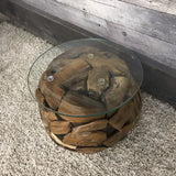 ROUND BALL TEAK END TABLE WITH GLASS - $249.00
