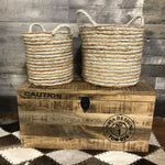 Round Seagrass storage Wicker Baskets (Set of 2)