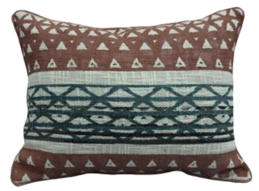 Rust blue triangle print pillow with piping 12 x 20