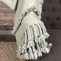 Sea green hand woven non twisted throw