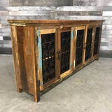 Serena Recycled rustic colorful wood 79 cabinet