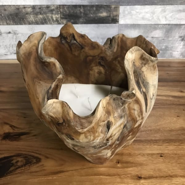 TEAK ROOT BOWL CANDLE HOLDER - $149.00