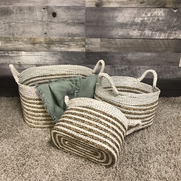White wicker Baskets (set of 3) - $129.00