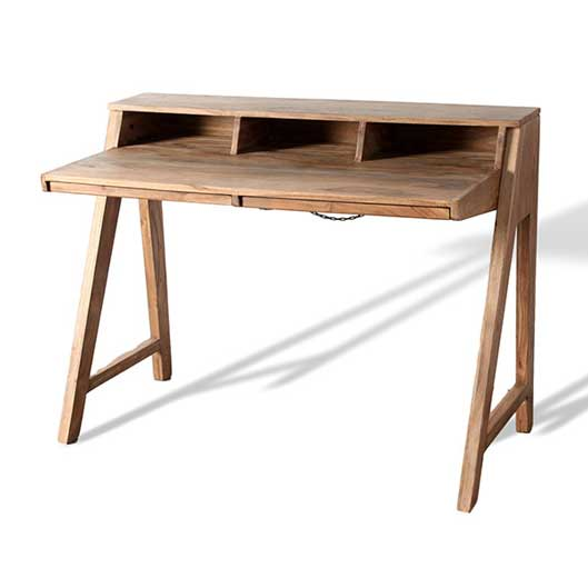 Acacia wood office desk with hidden drawers