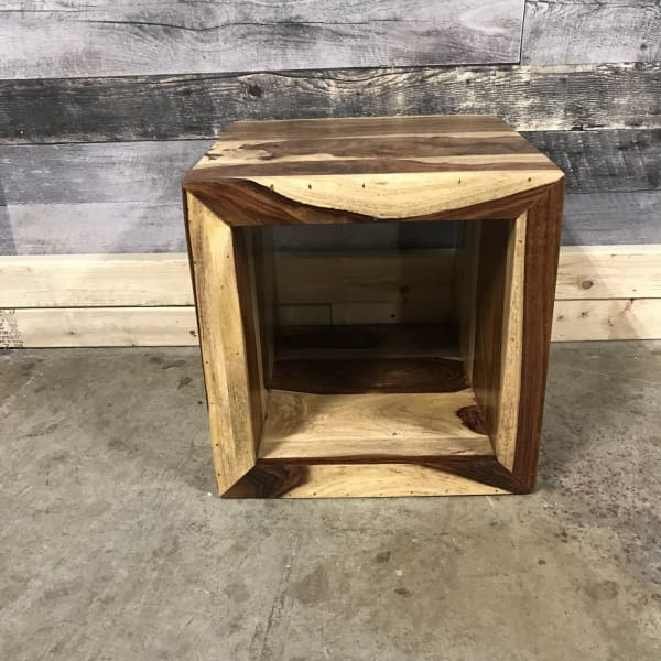 Zen Natural Rosewood Sheesham Cube End Table - $259.00
