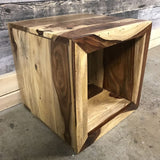 Zen Natural Rosewood Sheesham Cube End Table