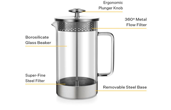 sustainable glass metal french press