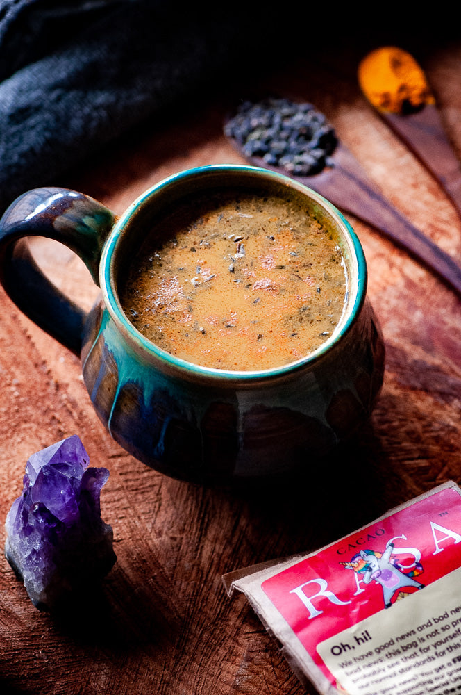 Golden Lavender Latte with Rasa Cacao Blend