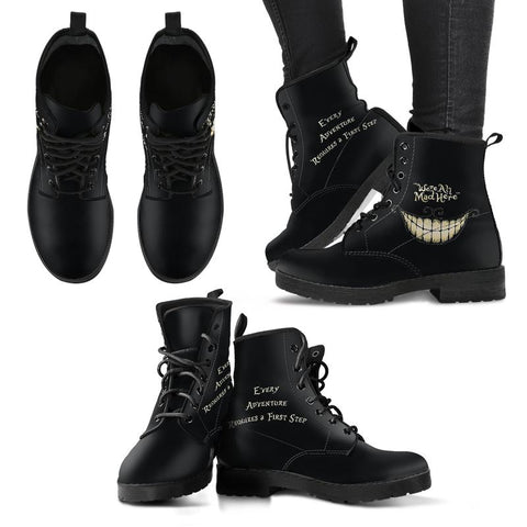 Alice in Wonderland 'We're All Mad Here' Black Premium Eco-Leather Boots