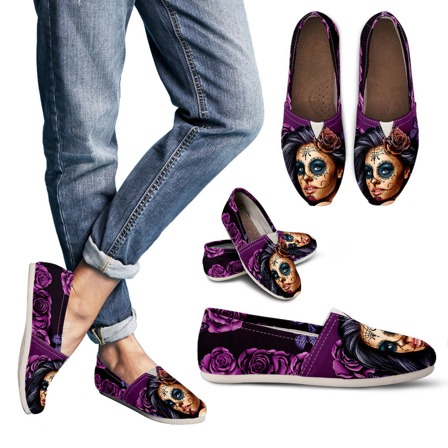 'Day of the Dead' Sugar Skull Calavera Girl Flats for Women in Black & White