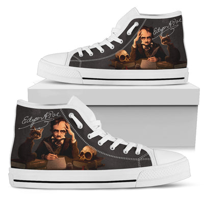 Edgar Allan Poe High-Top Canvas Shoes for Women
