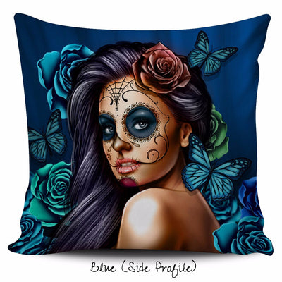 Calavera Girl Throw Pillow Cushion Cover in Blue