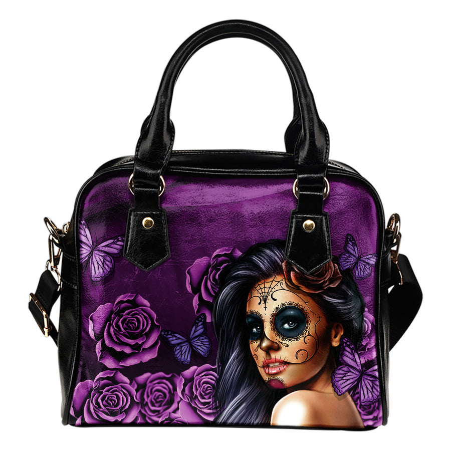 'Day of the Dead' Calavera Girl Eco-Leather Shoulder Handbag