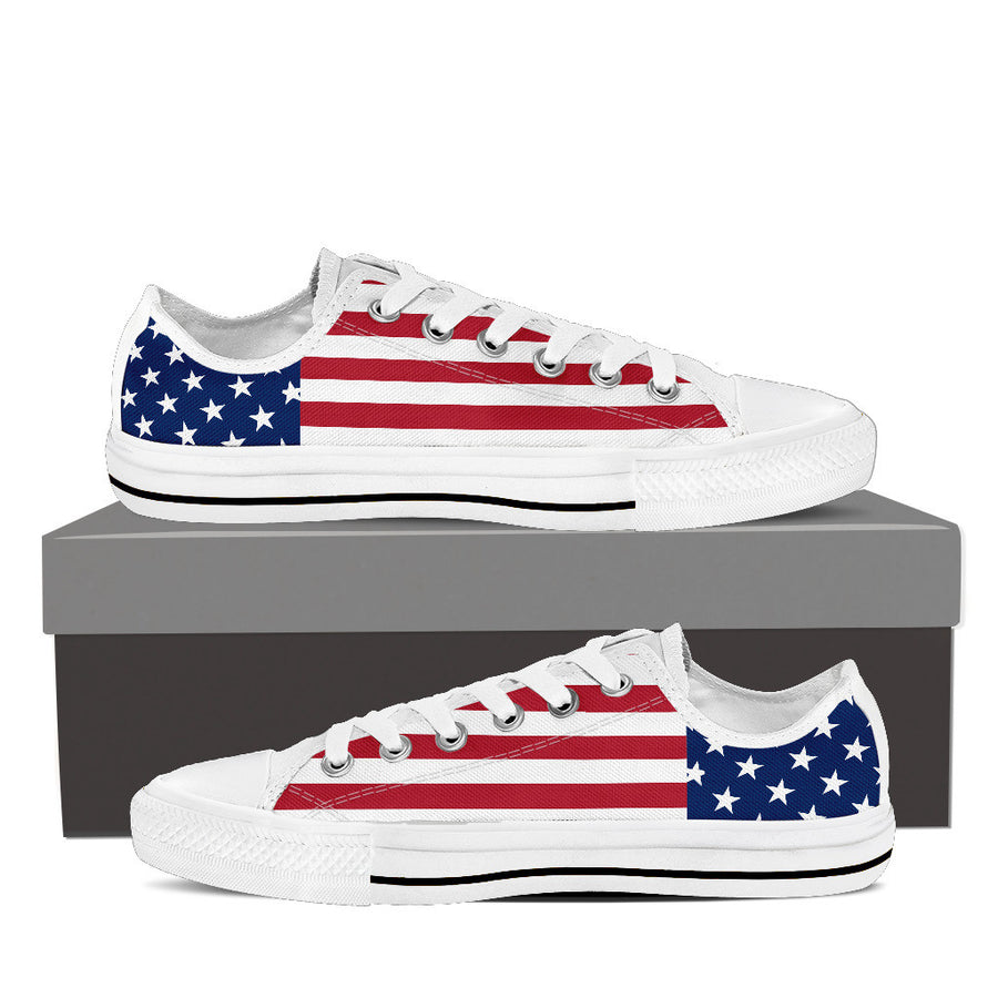 Patriotic American Flag Low-Top Canvas Shoes for Men