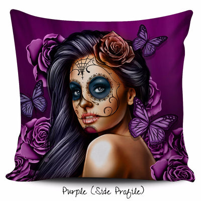 Calavera Girl Throw Pillow Cushion Cover in Purple