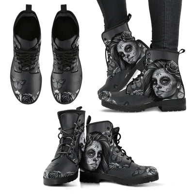 'Day of the Dead' Calavera Girl Sugar Skull Eco-Leather Boots