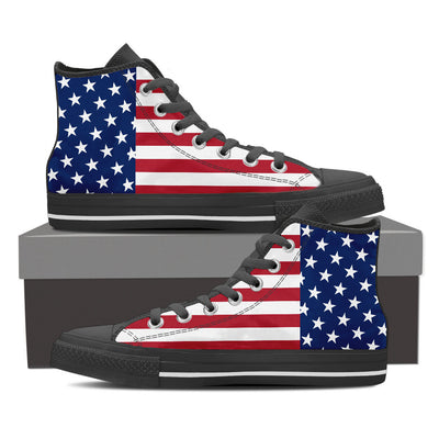 Patriotic American Flag High-Top Canvas Shoes for Men