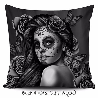 Calavera Girl Throw Pillow Cushion Cover in Black & White