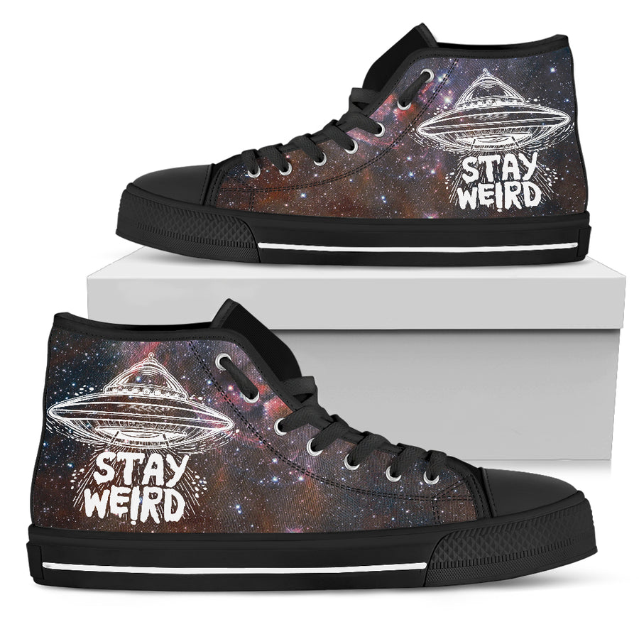 'Stay Weird' Galaxy High-Top Canvas Shoes for Men. Click this image for more details!