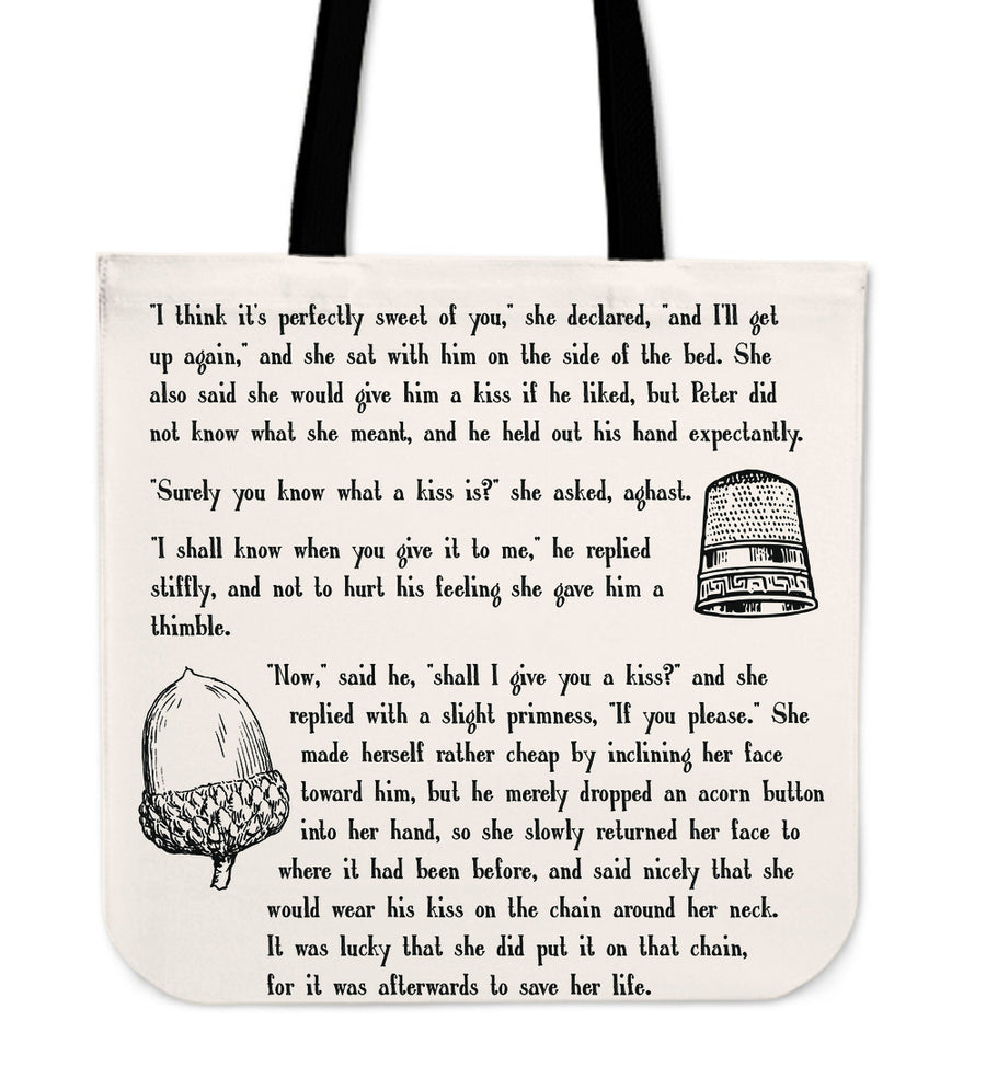 Peter Pan Literary Tote Bag (Quotes by J.M. Barrie)