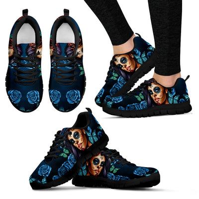 Day of the Dead Calavera Girl Sneakers in Turquoise Blue