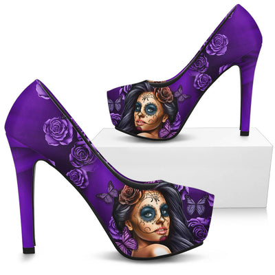 Calavera Girl 'Day of the Dead' High Heels in Purple