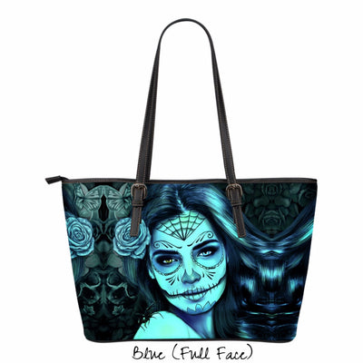 Calavera Girl Faux Leather Tote Bag in Blue