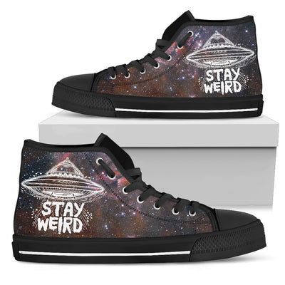 'Stay Weird' Galaxy High-Top Canvas Shoes for Women. Click this image for more details!