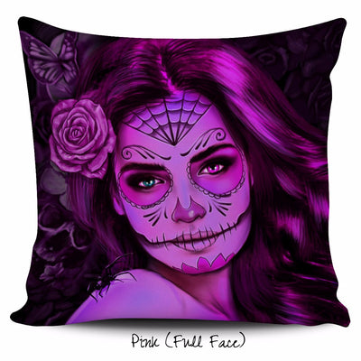 Calavera Girl Throw Pillow Cushion Cover in Pink
