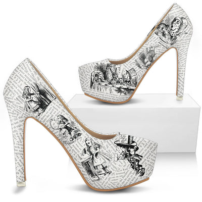 Alice in Wonderland Decoupage Bookish High Heels (Literary Style)