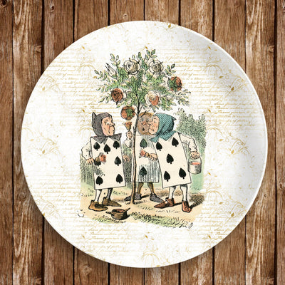 "This Alice in Wonderland 10"" dinner plate is made from revolutionary highly-durable ThermoSāf® Polymer which is significantly heavier than melamine dinnerware, making for a more quality feel. Made in the U.S.A."