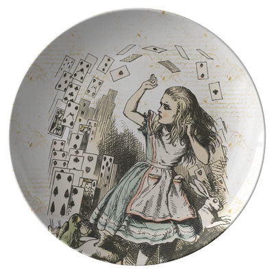 "Alice in Wonderland Dinnerware - Flying Cards Plate. 10"" dinner plate made from revolutionary highly-durable ThermoSāf® Polymer which is significantly heavier than melamine dinnerware, making for a more quality feel. Made in the U.S.A."