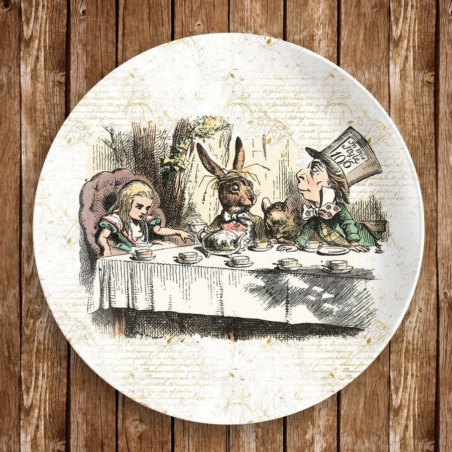 "Alice in Wonderland Dinnerware - The Mad Hatter's Tea Party Plate. 10"" dinner plate made from revolutionary highly-durable ThermoSāf® Polymer which is significantly heavier than melamine dinnerware, making for a more quality feel. Made in the U.S.A."