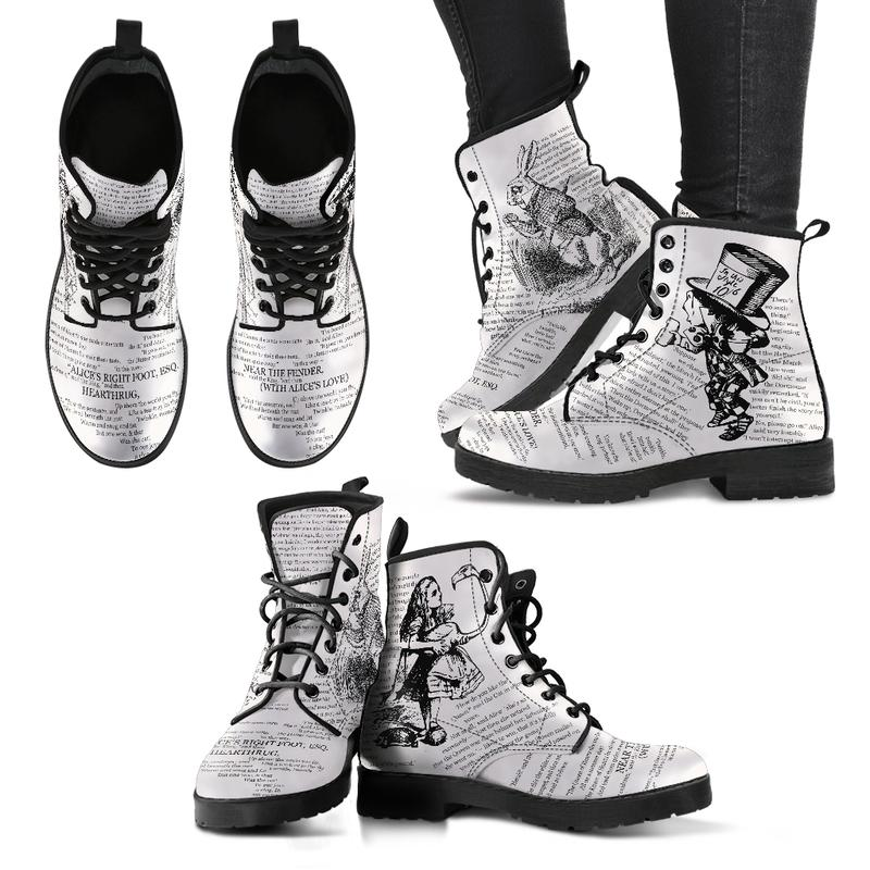 Alice in Wonderland John Tenniel Literary Style Bookish Eco-Leather Boots in Black
