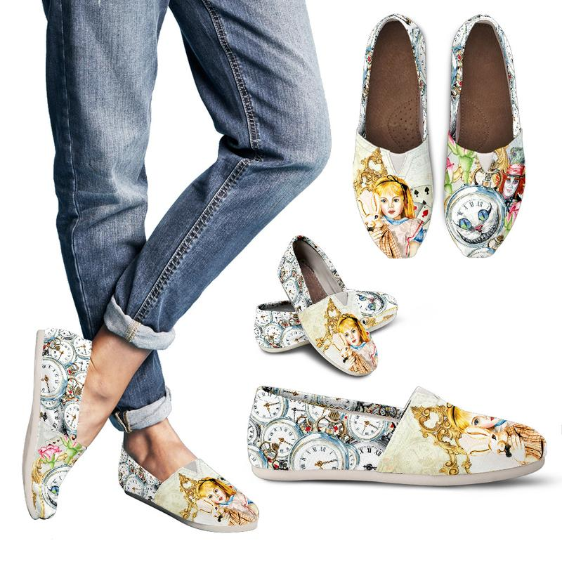 This bookish pair of casual shoes features the Mad Hatter, Alice and the White Rabbit from Alice in Wonderland. Whimsical watercolor art is inspired by Tim Burton's style, Alice Through the Looking Glass. Click image for more details!
