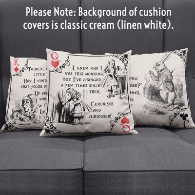 Alice in Wonderland Playing Card Suits Throw Pillows (Bookish)
