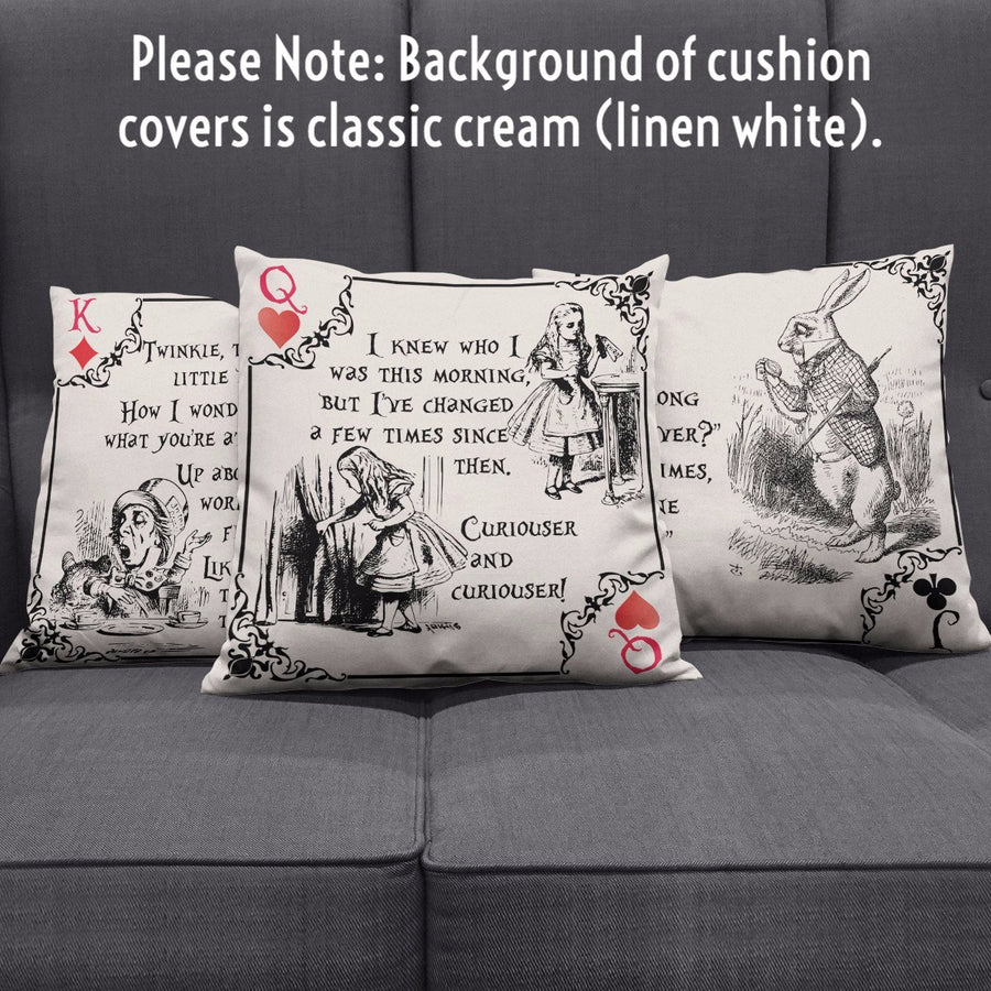 Alice in Wonderland Playing Card Suits Throw Pillow Scatter Cushion Cover (Literary Style)