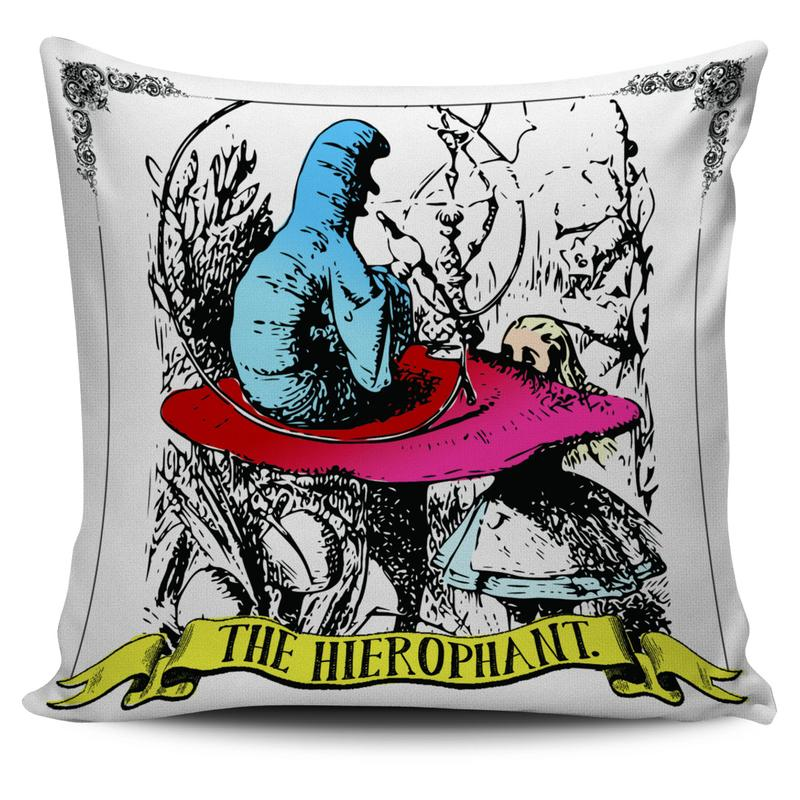 Alice in Wonderland Flamingo Two of Pentacles Tarot Pillow Cushion Cover