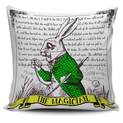 Alice in Wonderland White Rabbit Magician Tarot Pillow Cushion Cover