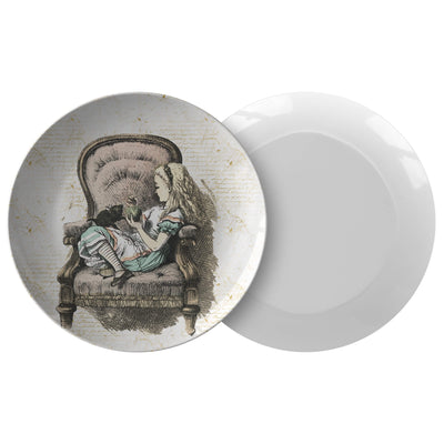 "Alice in Wonderland Dinnerware Plate - Alice Sitting in A Chair. This 10"" dinner plate is made from revolutionary highly-durable ThermoSāf® Polymer which is significantly heavier than melamine dinnerware, making for a more quality feel. Made in the U.S.A."