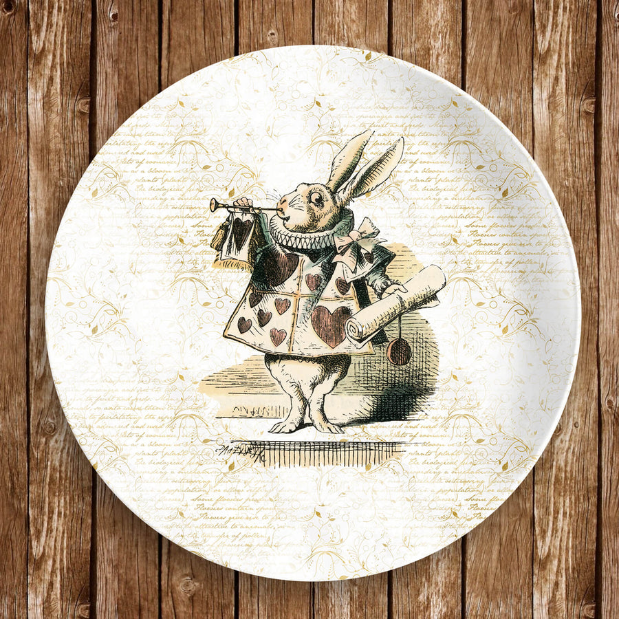 "Alice in Wonderland Dinnerware Plate - The White Rabbit. 10"" dinner plate made from revolutionary highly-durable ThermoSāf® Polymer which is significantly heavier than melamine dinnerware, making for a more quality feel. Made in the U.S.A."