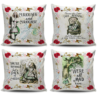 Alice in Wonderland Cushion Cover (Throw Pillow Decorative Set). Click this image for more details!
