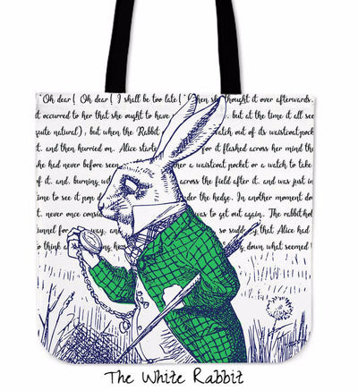 Alice in Wonderland White Rabbit Tote Bag