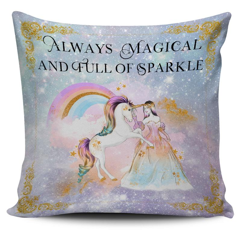 Beautiful galactic themed unicorn cushion covers with rainbows, gold stars, glitter, princesses and unicorn quotes in watercolor painting style! | Unicorn Throw Pillow