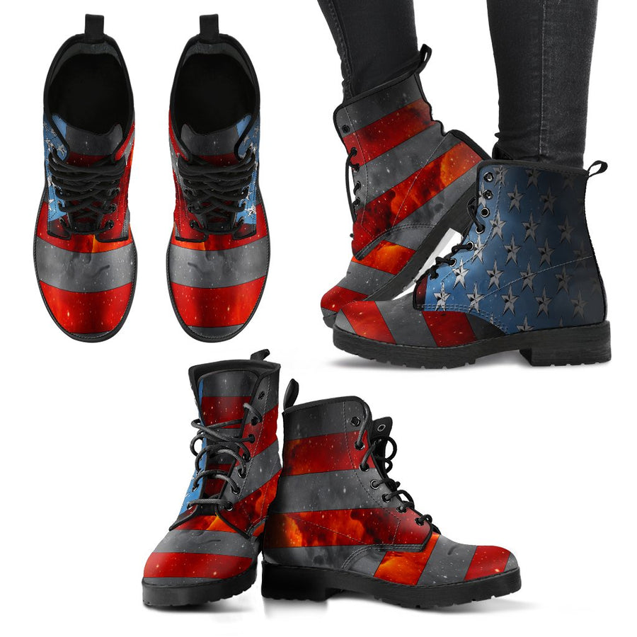 American Flag Boots for Women – Patriotic Boots - Space Flag Boots